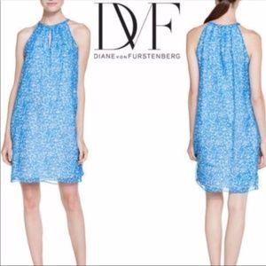 DIANE VON FURSTENBERG Lainey Silk Shift Dress Blue